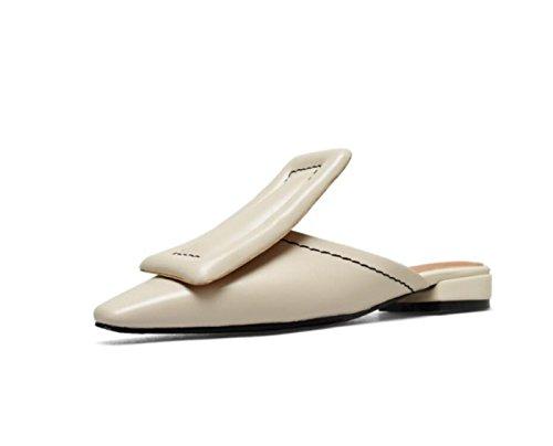 DANDANJIE Zapatos de Mujer Primavera Verano Vintage Tacón Plano Chanclas y Zapatillas Correa de tacón bajo Sandalias Bohemian Ladies Zapatos caseros Beige