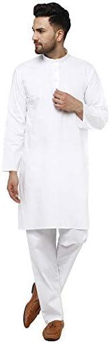 SKAVIJ Kurta Pajama Set Men's Cotton Indian Yoga Casual D