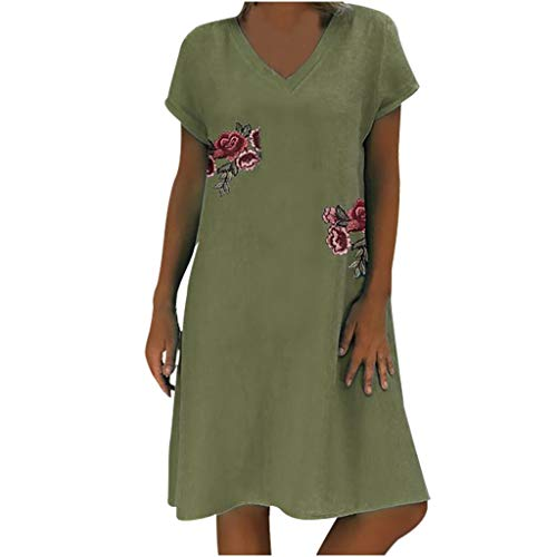 Sunhusing Ladies Solid Color Rose Flower Embroidered Applique Casual V-Neck Short Sleeve Knee Length Dress