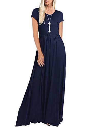 - Amoretu Womens Solid Color Short Sleeve Baby Shower Dress with Pockets(Navy,L)