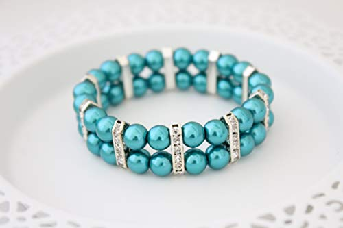 (Teal Green Glass Pearl Silver Rhinestone Cuff Bracelet for Women Mother's Day Gift - 7