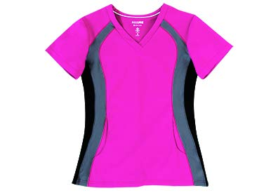 Allure by White Cross Women's V-Neck Top with Contrast Knit Trim Stretch Side Large Fuchsia