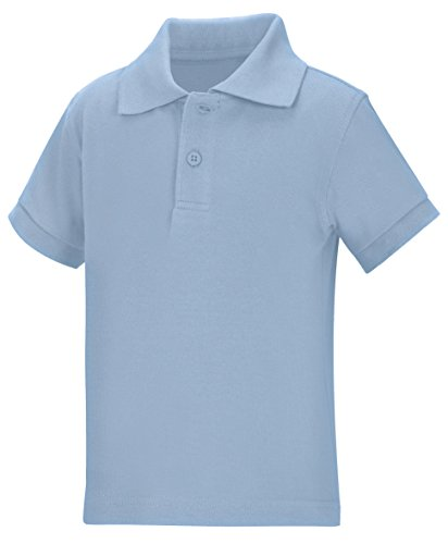 Classroom Toddler Kids Preschool Unisex Short Sleeve Pique Polo, Sos Light Blue, 3T