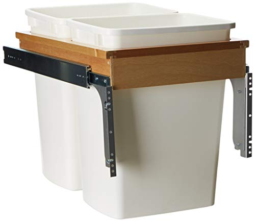 Rev-A-Shelf - 4WCTM-18DM2 - Double 35 Qt. Pull-Out Top Mount Wood and White Waste Container for 1-1/2 in. Face Frame -