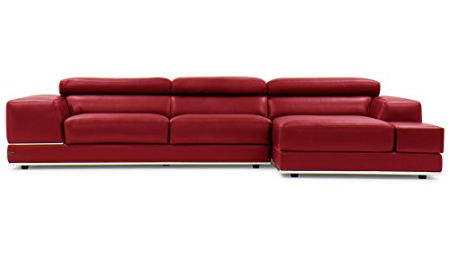 Zuri Furniture Encore Red Leather Sofa - Right Chaise