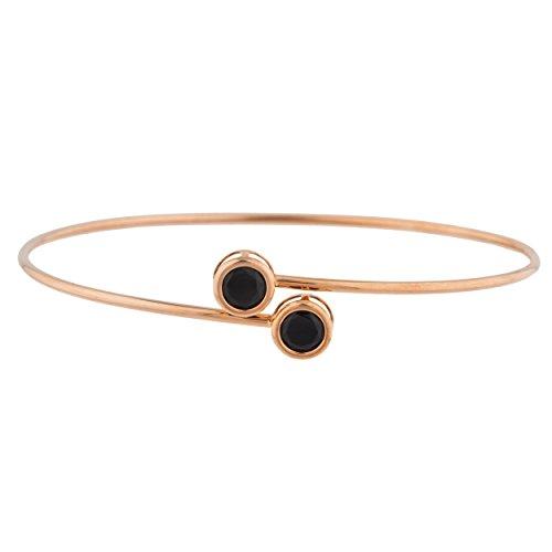 Genuine Black Onyx Round Bezel Bangle Bracelet 14Kt Rose Gold Plated Over .925 Sterling Silver -