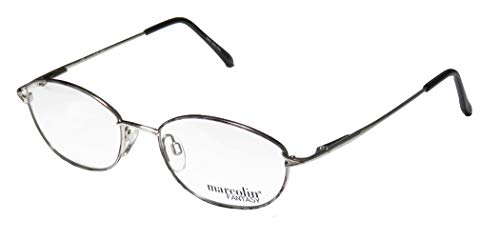 Marcolin 7218 Mens/Womens Designer Full-rim Flexible Hinges Retro Sleek Ophthalmic Eyeglasses/Glasses (52-18-135, Silver/Gray) - Ophthalmic Glasses