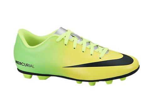 Nueva Boy Jr Mercurial Vortex FG-R Tacos de fútbol amarillo / cal / negro 1,5 Vibrant Yellow/Black-Neo Lime