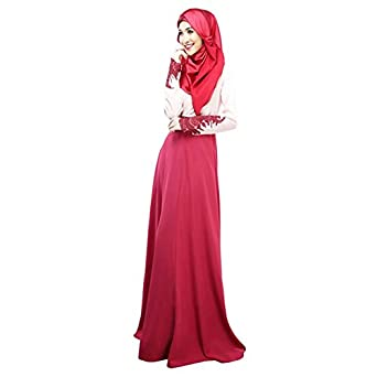 Women's Kaftan Abaya Jilbab Islamic Muslim Long Sleeve Maxi Dress