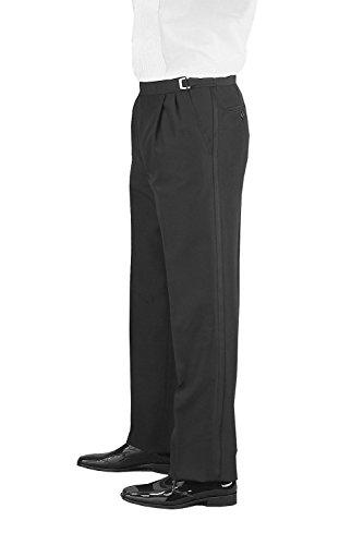 SixStarUniforms Men Black Adjustable Pleated Front Wool Tuxedo Pants - Size (42-43-44) ()