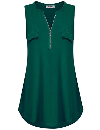 (Finice Tunic Tops, Women's Zip up V Neck Sleeveless Summer Business Casual Wear Solid Color Tunic Tank Top Blouses and Shirts with Chest Flaps Army Green XXL)