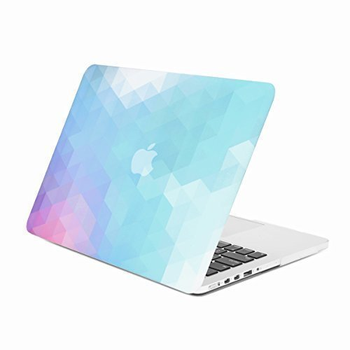 Unik Case Gradient Ombre Triangular Galore Purple and Light Blue Graphic Ultra Slim Light Weight Matte Rubberized Hard Case Cover for Macbook Pro 13'' 13-inch with Retina Display Model: A1425 and A1502 by UNIK CASE