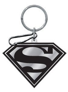 Black And Silver Superman Enamel Key Chain