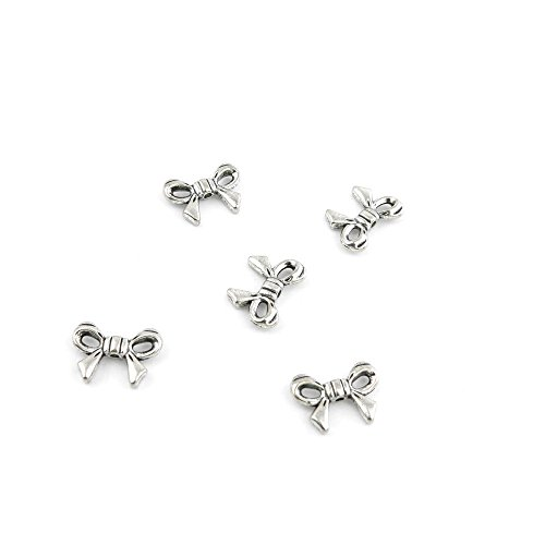 - 50 Pcs Jewelry Making Charms HQB02 Bow Tie Bowtie Antique Silver Fashion Finding for Necklace Bracelet Pendant Crafting Earrings