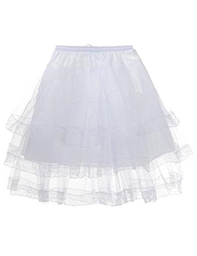 [Remedios Prom Dress Children Petticoat Underskirt Girl Half Slip Crinoline WhiteChild(waist ca 18-31inch)] (Fullness Slip)