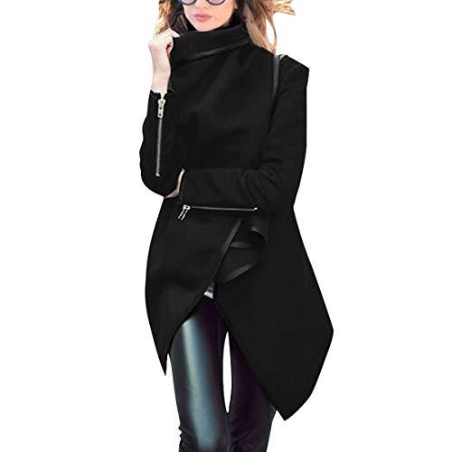 ZFFde Invierno Abrigo de cazadora de lana de dobladillo irregular de invierno de manga larga de cuello cálido (Color : Black, tamaño : M)