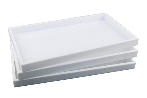 - 888 Display USA 3-Piece 1-Inch Deep White Full Size Plastic Stackable Jewelry Tray 14 3/4 X 8 1/4 X 1H