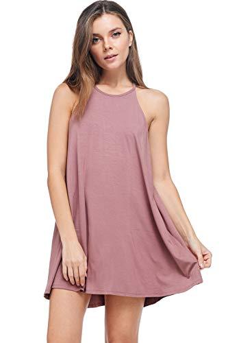 A+D Womens Modal Halter Tank Dress - Casual Knit Swing Tunic (Mauve, Large)