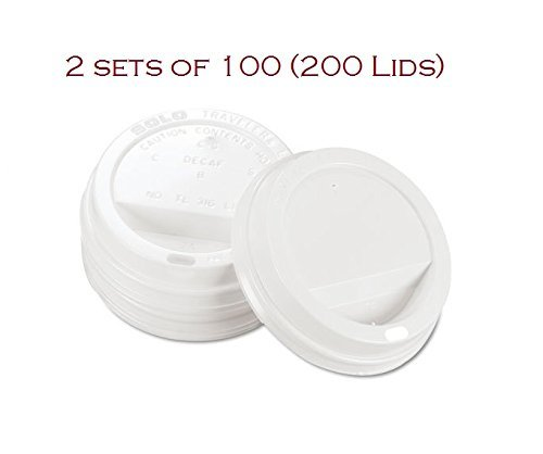 (SOLO TLP316-0007 White Traveler Lid for SSP and Bare Paper Hot Cup - 2 Packs of 100 (200 Lids)