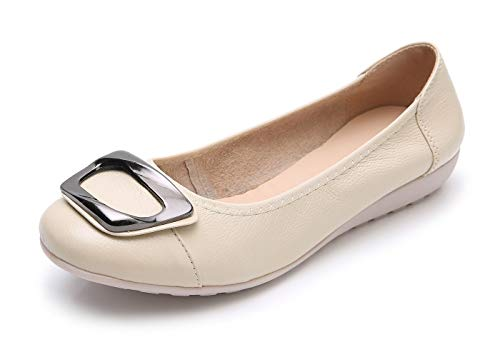VenusCelia Women's Buckle Dance Flat Shoe