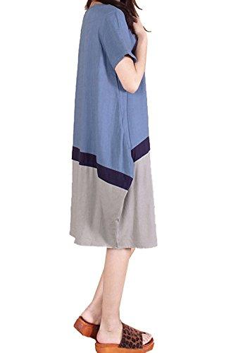 Ammy coton joints chemise lin Bleu en courtes Bleu Grande Couleur et Fashion Robe Femmes manches rw1arFq