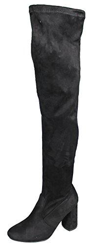 Mevina Damen Plateau Overknee Pumps Blockabsatz Stiefel Wildleder-Optik High Heels Boots Winter Schwarz