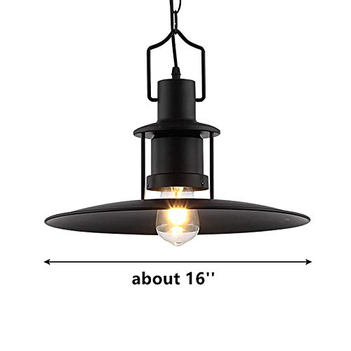 Ladiqi Industrial Hanging Pendant Light Black Vintage Hanging Lighting Fixture with Creative Saucer Shade for Restaurant Cafeteria Buffet by Ladiqi (Image #5)