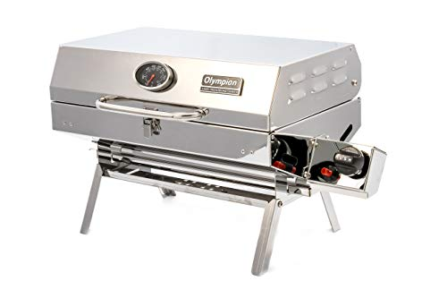 "Camco Olympian 5500 Stainless Steel Portable Gas Grill Connects To Low Pressure Supply On RV, Includes RV Mounting Bracket And Folding Tabletop Legs - 180"" (57305)"