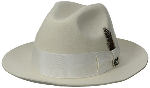 STACY ADAMS Men's Cannery Row Wool Felt Fedora Hat, Ivory Medium ()
