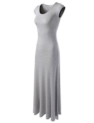 NEARKIN (NKWLD04271) Attractive Women Casual Unbane Figure Hugging Maxi Dress GRAY X-Small(Tag size S) (Yellow And Gray Maxi Dress)