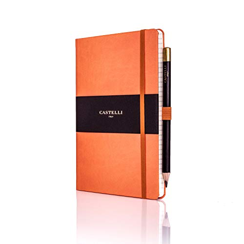 Castelli RQ24/25-452 Medium Lined Ruled Tucson Notebook - Orange
