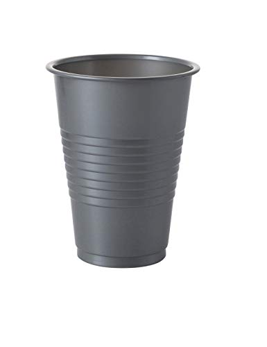 Exquisite 12 oz Silver Plastic Cups II 50 Count Bulk Pack Disposable Party Cups II Premium Quality Plastic Tumblers for Parties