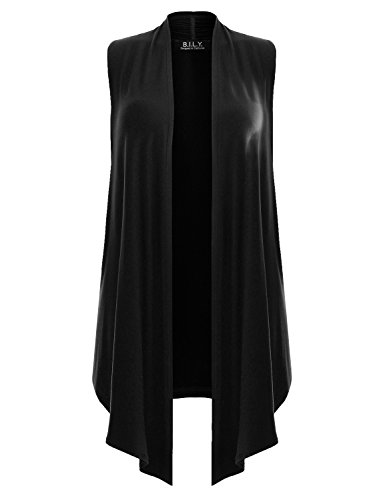 B.I.L.Y BILY Womens Classic Open Front Sleeveless Drape Cardigan