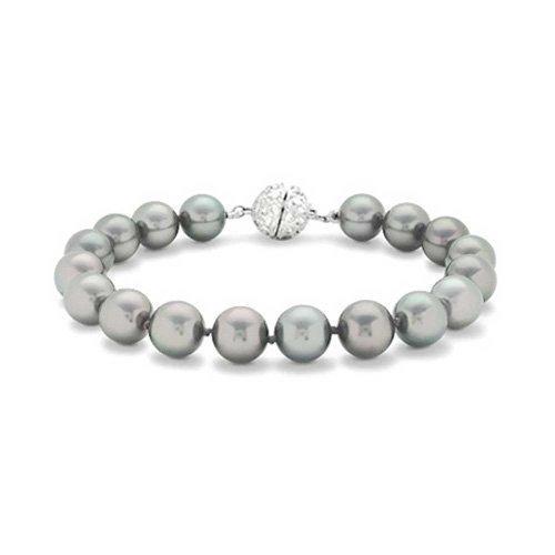 10mm Grey Simulated Pearl Wedding Bracelet Rhodium Plated ()