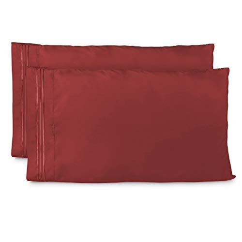 Cosy House Collection Pillowcases Standard Size - Burgundy Pillow Case Set of 2 - Fits Queen Size Pillows - Premium Super Soft Hotel Quality - Cool & Wrinkle Free - Hypoallergenic