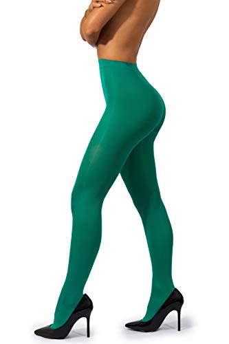 sofsy Opaque Microfibre Tights for Women - Invisibly Reinforced Opaque Brief Pantyhose 40Den [Made In Italy] Avocado Green 2 - Small