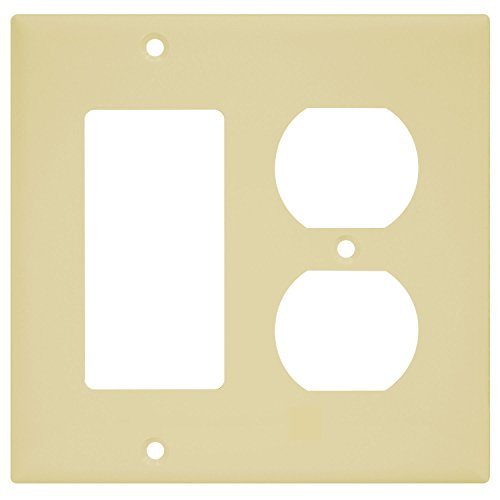 (ENERLITES Combination Duplex Receptacle Outlet/Decorator Switch Wall Plate, Size 2-Gang 4.50