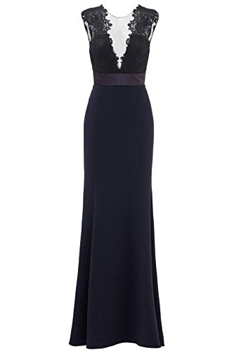 HONGFUYU Deep Midnight Gown Sleeveless V-Neckline Fitted Long Prom Dresses Navy-US6