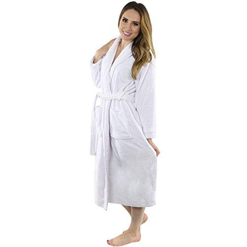Women s Fleece bathrobe- Shawl Collar ultra-soft spa robe- Comfortable 937abfe88