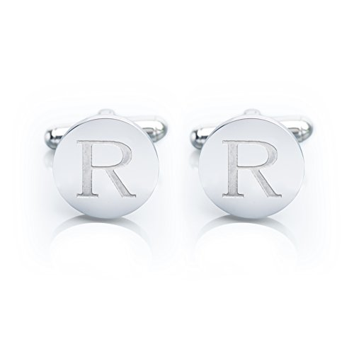 Men's 18K White Gold-Plated Engraved Initial Cufflinks with Gift Box– Premium Quality Personalized Alphabet Letter (R - White Gold) (Cufflinks Round Personalized)