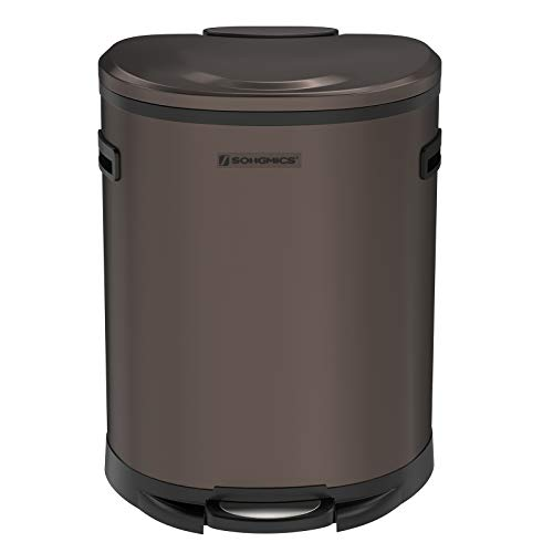 SONGMICS Kitchen Trash Can,13.2 Gal (50L) Pedal Garbage Can, with Plastic Inner Bucket, Hinged Lid, Soft Closure, Semi-Round, Odor Proof and Hygienic, Brown ULTB51BR