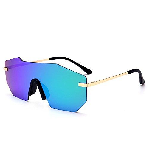 sola Silver Sunglasses pieza sol Unisex de una Lentes grande sin hombre lens metálico gafas UV400 gafas green de herraje TL TIwqT