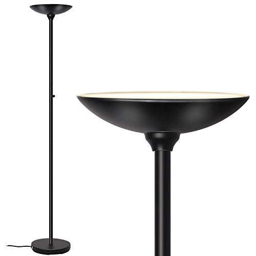 (SUNLLIPE LED Torchiere Floor Lamp 24W Bright Dimmable Reading Modern Tall Standing Pole Torch Light for Living Rooms, Bedrooms, Offices, Jet Black)