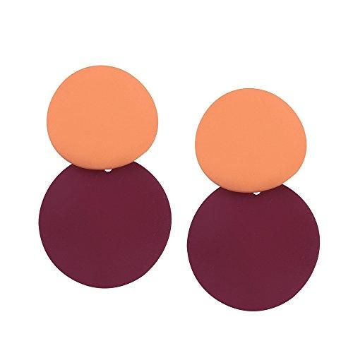 Pendientes del disco a juego color temperamento de las mujeres Pendientes del perno prisionero color geométrico marea simple Wine Red+orange