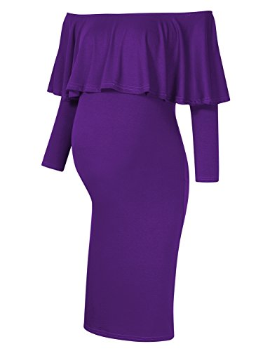 MissQee Women's Maternity Dress Off Shoulder Long Sleeve Casual Maxi Dress (L, Purple)