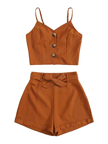 (Floerns Women's Two Piece Button Front Cami Top and Belted Shorts Set Brown S)