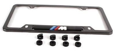 amazoncom bmw genuine logo m performance logo license plate frames faux carbon fiber automotive