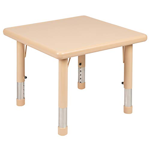 Flash Furniture 24″ Square Natural Plastic Height Adjustable Activity Table