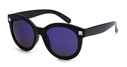 Eason Eyewear Men/Women's Round Indie Fashion Sunglasses with Mirrored Lens 54 mm Black - Eyewear Indie