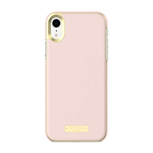 Kate Spade New York Phone Case | for Apple iPhone XR | Protective Phone Cases with Wrap Design and Drop Protection - Saffiano Rose Quartz/Gold Logo Plate ()